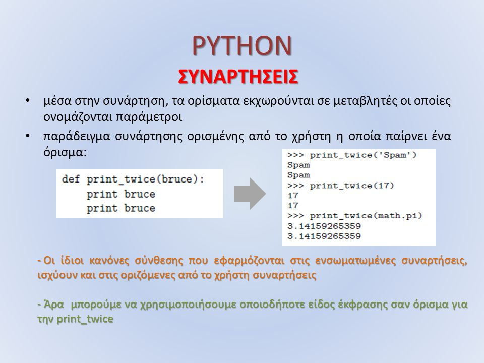 PYTHON ΣΥΝΑΡΤΗΣΕΙΣ μέσα στην συνάρτηση, τα ορίσματα εκχωρούνται σε μεταβλητές οι οποίες ονομάζονται παράμετροι παράδειγμα συνάρτησης ορισμένης από το χρήστη η οποία παίρνει ένα όρισμα: - Οι ίδιοι κανόνες σύνθεσης που εφαρμόζονται στις ενσωματωμένες συναρτήσεις, ισχύουν και στις οριζόμενες από το χρήστη συναρτήσεις - Άρα μπορούμε να χρησιμοποιήσουμε οποιοδήποτε είδος έκφρασης σαν όρισμα για την print_twice