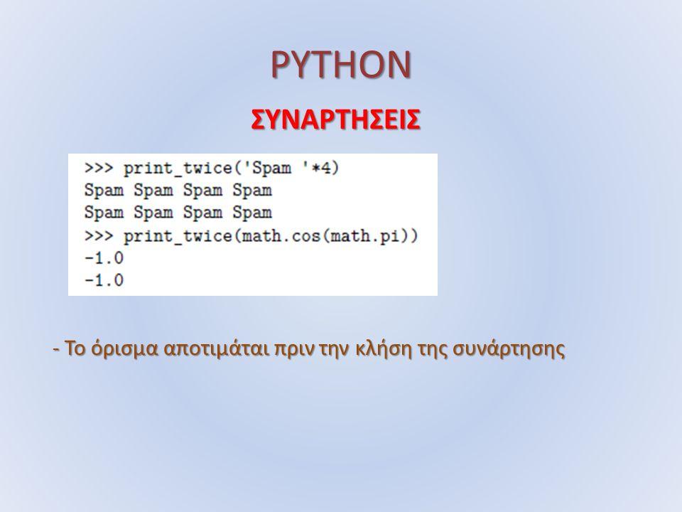 PYTHON ΣΥΝΑΡΤΗΣΕΙΣ - Το όρισμα αποτιμάται πριν την κλήση της συνάρτησης