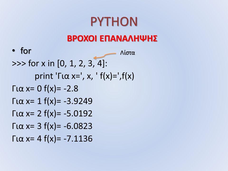 PYTHON ΒΡΟΧΟΙ ΕΠΑΝΑΛΗΨΗΣ for for >>> for x in [0, 1, 2, 3, 4]: print Για x= , x, f(x)= ,f(x) Για x= 0 f(x)= -2.8 Για x= 1 f(x)= -3.9249 Για x= 2 f(x)= -5.0192 Για x= 3 f(x)= -6.0823 Για x= 4 f(x)= -7.1136 Λίστα
