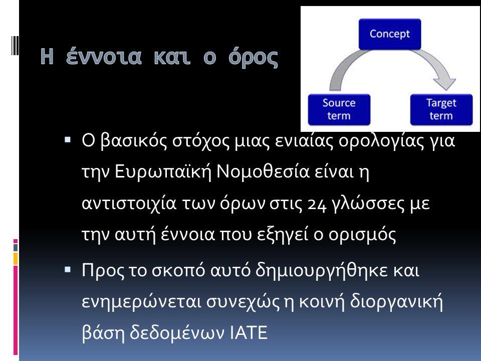  Ο βασικός στόχος μιας ενιαίας ορολογίας για την Ευρωπαϊκή Νομοθεσία είναι η αντιστοιχία των όρων στις 24 γλώσσες με την αυτή έννοια που εξηγεί ο ορισμός  Προς το σκοπό αυτό δημιουργήθηκε και ενημερώνεται συνεχώς η κοινή διοργανική βάση δεδομένων ΙΑΤΕ