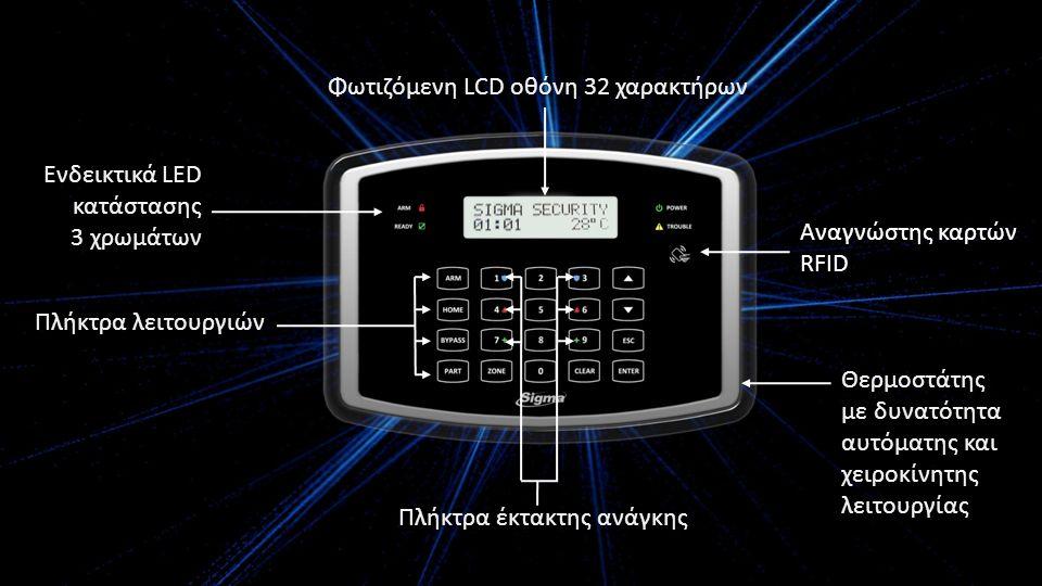 Ενδεικτικά LED κατάστασης 3 χρωμάτων Φωτιζόμενη LCD οθόνη 32 χαρακτήρων Αναγνώστης καρτών RFID Πλήκτρα έκτακτης ανάγκης Θερμοστάτης με δυνατότητα αυτόματης και χειροκίνητης λειτουργίας Πλήκτρα λειτουργιών