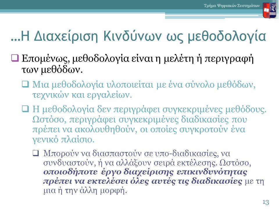 …Η Διαχείριση Κινδύνων ως μεθοδολογία  Επομένως, μεθοδολογία είναι η μελέτη ή περιγραφή των μεθόδων.