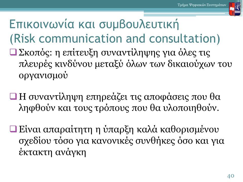 Επικοινωνία και συμβουλευτική (Risk communication and consultation)  Σκοπός: η επίτευξη συναντίληψης για όλες τις πλευρές κινδύνου μεταξύ όλων των δικαιούχων του οργανισμού  Η συναντίληψη επηρεάζει τις αποφάσεις που θα ληφθούν και τους τρόπους που θα υλοποιηθούν.