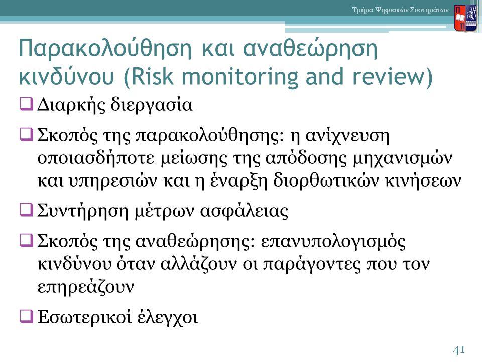 Παρακολούθηση και αναθεώρηση κινδύνου (Risk monitoring and review)  Διαρκής διεργασία  Σκοπός της παρακολούθησης: η ανίχνευση οποιασδήποτε μείωσης της απόδοσης μηχανισμών και υπηρεσιών και η έναρξη διορθωτικών κινήσεων  Συντήρηση μέτρων ασφάλειας  Σκοπός της αναθεώρησης: επανυπολογισμός κινδύνου όταν αλλάζουν οι παράγοντες που τον επηρεάζουν  Εσωτερικοί έλεγχοι 41 Τμήμα Ψηφιακών Συστημάτων