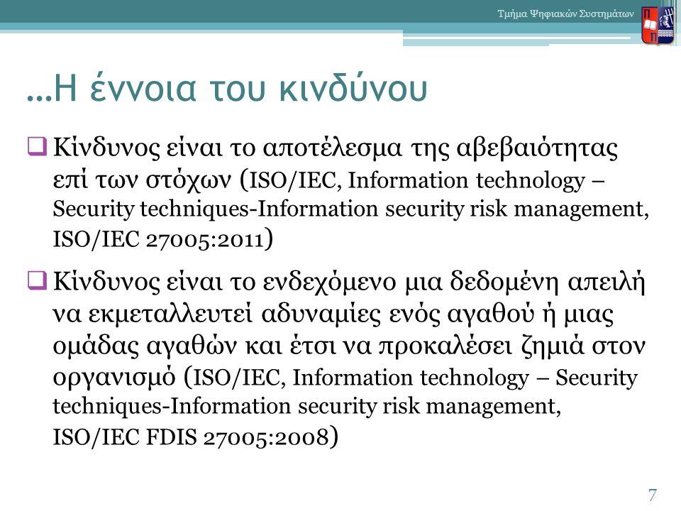 …Η έννοια του κινδύνου  Κίνδυνος είναι το αποτέλεσμα της αβεβαιότητας επί των στόχων ( ISO/IEC, Information technology – Security techniques-Information security risk management, ISO/IEC 27005:2011 )  Κίνδυνος είναι το ενδεχόμενο μια δεδομένη απειλή να εκμεταλλευτεί αδυναμίες ενός αγαθού ή μιας ομάδας αγαθών και έτσι να προκαλέσει ζημιά στον οργανισμό ( ISO/IEC, Information technology – Security techniques-Information security risk management, ISO/IEC FDIS 27005:2008 ) 7 Τμήμα Ψηφιακών Συστημάτων
