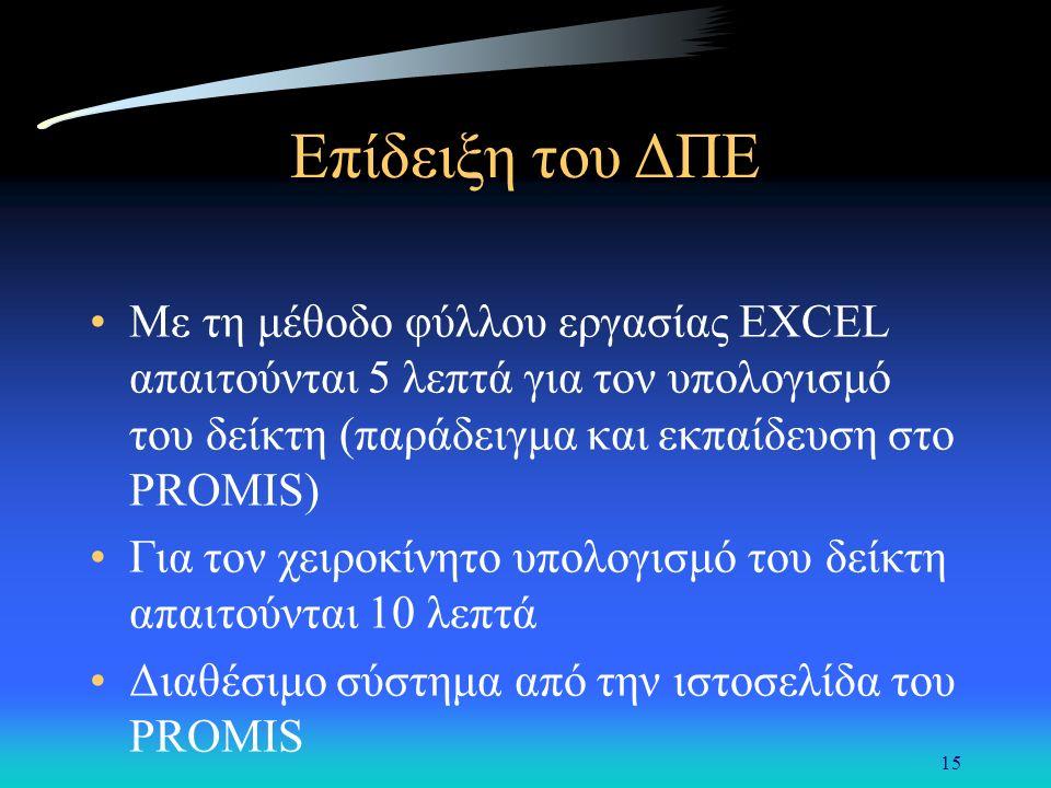 15 Επίδειξη του ΔΠΕ Με τη μέθοδο φύλλου εργασίας EXCEL απαιτούνται 5 λεπτά για τον υπολογισμό του δείκτη (παράδειγμα και εκπαίδευση στο PROMIS) Για τον χειροκίνητο υπολογισμό του δείκτη απαιτούνται 10 λεπτά Διαθέσιμο σύστημα από την ιστοσελίδα του PROMIS