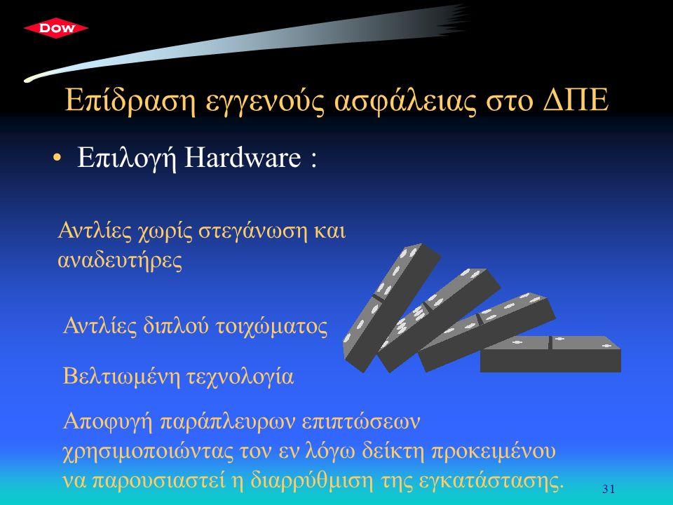 31 Επίδραση εγγενούς ασφάλειας στο ΔΠΕ Επιλογή Hardware : Αντλίες χωρίς στεγάνωση και αναδευτήρες Αντλίες διπλού τοιχώματος Βελτιωμένη τεχνολογία Αποφυγή παράπλευρων επιπτώσεων χρησιμοποιώντας τον εν λόγω δείκτη προκειμένου να παρουσιαστεί η διαρρύθμιση της εγκατάστασης.