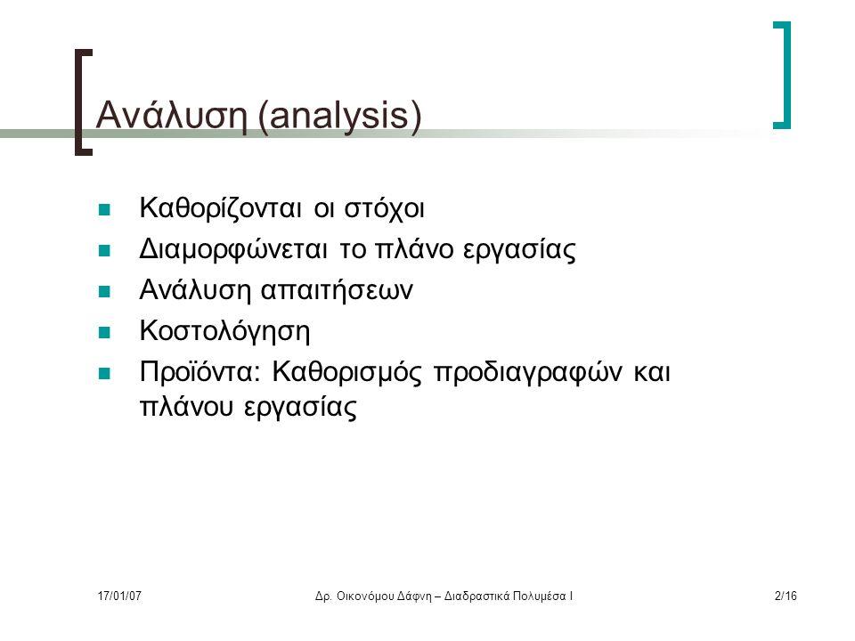 Ανάλυση (analysis) Καθορίζονται οι στόχοι Διαμορφώνεται το πλάνο εργασίας Ανάλυση απαιτήσεων Κοστολόγηση Προϊόντα: Καθορισμός προδιαγραφών και πλάνου εργασίας 17/01/07Δρ.