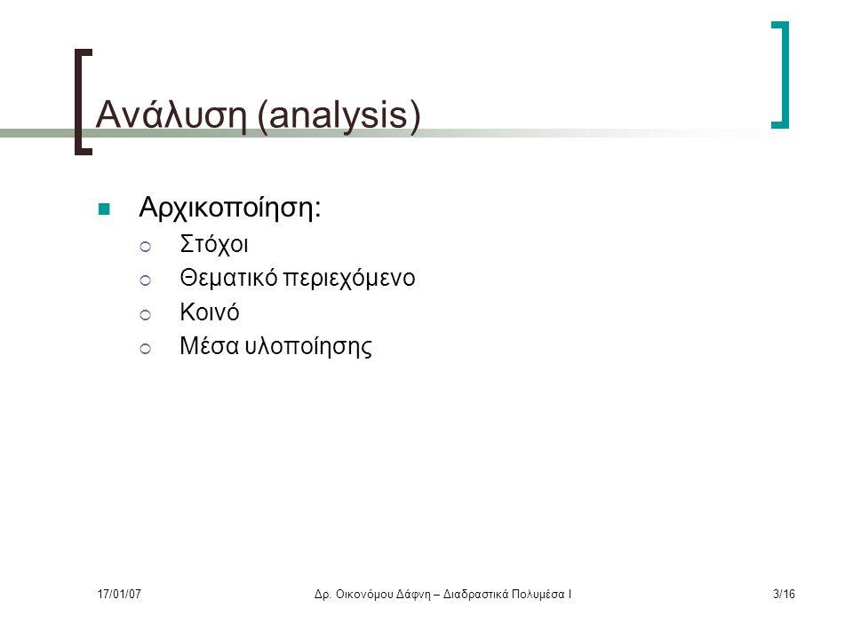 Ανάλυση (analysis) Αρχικοποίηση:  Στόχοι  Θεματικό περιεχόμενο  Κοινό  Μέσα υλοποίησης 17/01/07Δρ.