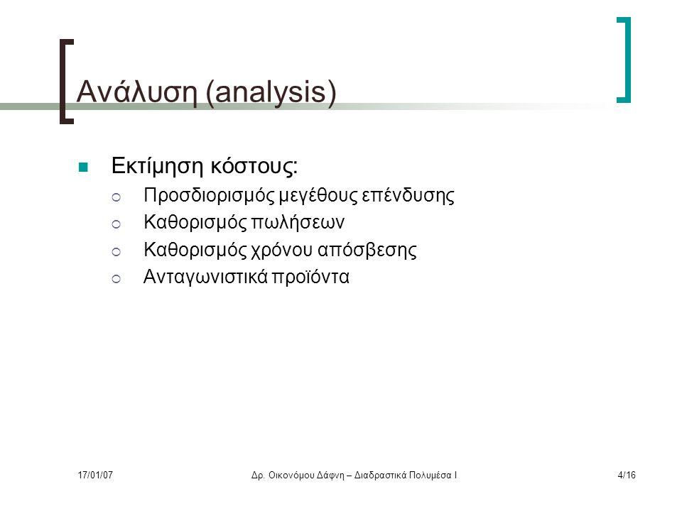 Ανάλυση (analysis) Εκτίμηση κόστους:  Προσδιορισμός μεγέθους επένδυσης  Καθορισμός πωλήσεων  Καθορισμός χρόνου απόσβεσης  Ανταγωνιστικά προϊόντα 17/01/07Δρ.