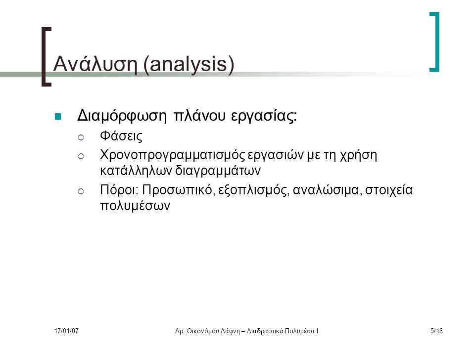 Ανάλυση (analysis) Διαμόρφωση πλάνου εργασίας:  Φάσεις  Χρονοπρογραμματισμός εργασιών με τη χρήση κατάλληλων διαγραμμάτων  Πόροι: Προσωπικό, εξοπλισμός, αναλώσιμα, στοιχεία πολυμέσων 17/01/07Δρ.