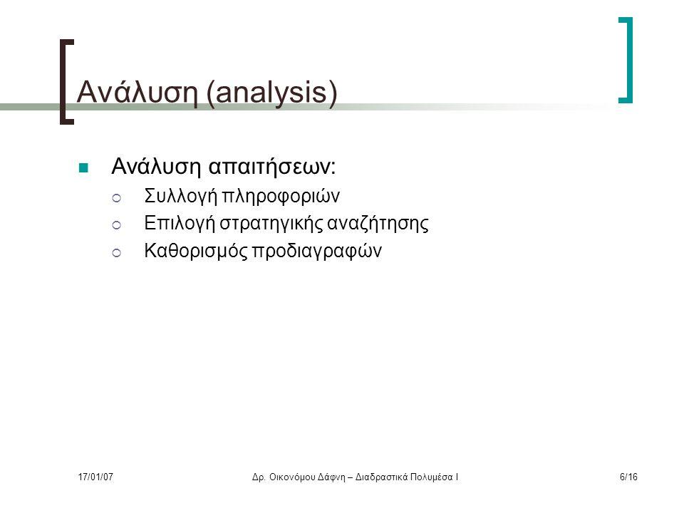 Ανάλυση (analysis) Ανάλυση απαιτήσεων:  Συλλογή πληροφοριών  Επιλογή στρατηγικής αναζήτησης  Καθορισμός προδιαγραφών 17/01/07Δρ.