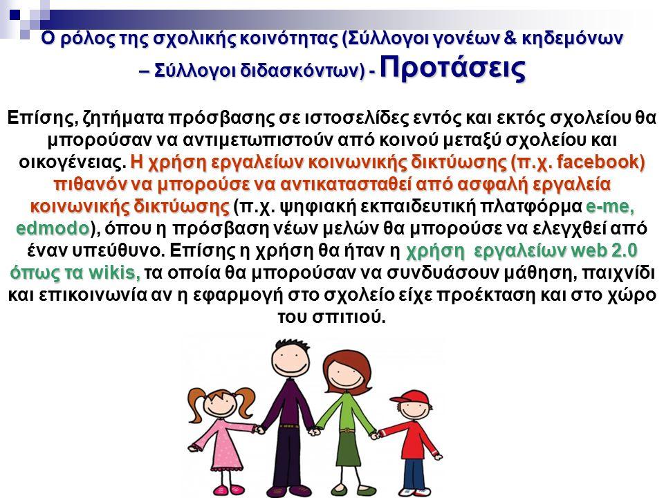 Ο ρόλος της σχολικής κοινότητας (Σύλλογοι γονέων & κηδεμόνων – Σύλλογοι διδασκόντων) - Προτάσεις Η χρήση εργαλείων κοινωνικής δικτύωσης (π.χ. facebook
