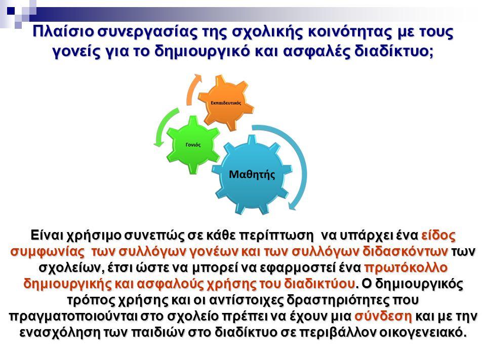 Πλαίσιο συνεργασίας της σχολικής κοινότητας με τους γονείς για το δημιουργικό και ασφαλές διαδίκτυο; Είναι χρήσιμο συνεπώς σε κάθε περίπτωση να υπάρχε