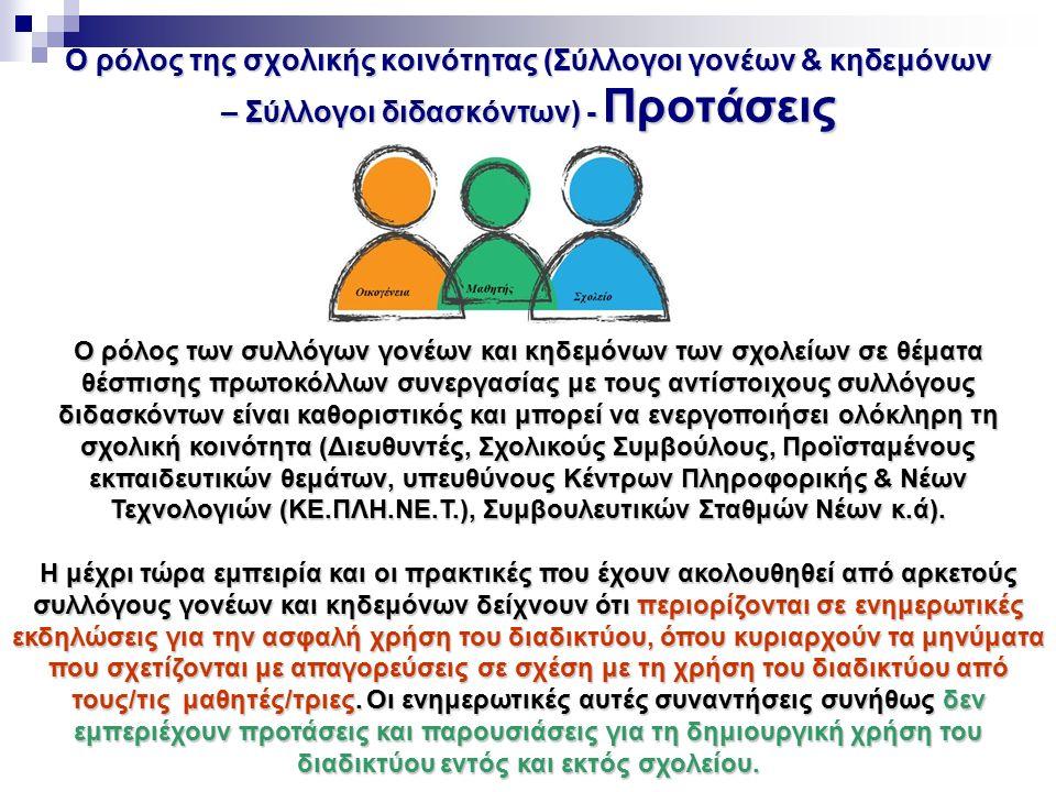 Ο ρόλος της σχολικής κοινότητας (Σύλλογοι γονέων & κηδεμόνων – Σύλλογοι διδασκόντων) - Προτάσεις Ο ρόλος των συλλόγων γονέων και κηδεμόνων των σχολείω