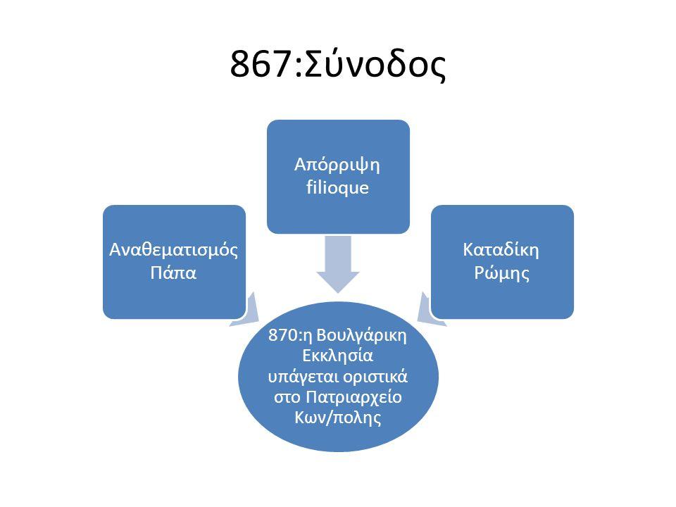 867:Σύνοδος 870:η Βουλγάρικη Εκκλησία υπάγεται οριστικά στο Πατριαρχείο Κων/πολης Αναθεματισμός Πάπα Απόρριψη filioque Kαταδίκη Ρώμης