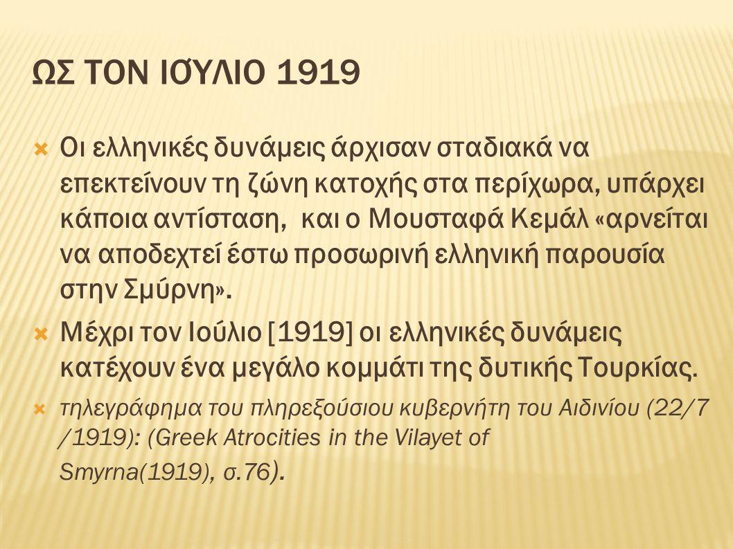 ΩΣ ΤΟΝ ΙΟΎΛΙΟ 1919  Οι ελληνικές δυνάμεις άρχισαν σταδιακά να επεκτείνουν τη ζώνη κατοχής στα περίχωρα, υπάρχει κάποια αντίσταση, και ο Μουσταφά Κεμάλ «αρνείται να αποδεχτεί έστω προσωρινή ελληνική παρουσία στην Σμύρνη».