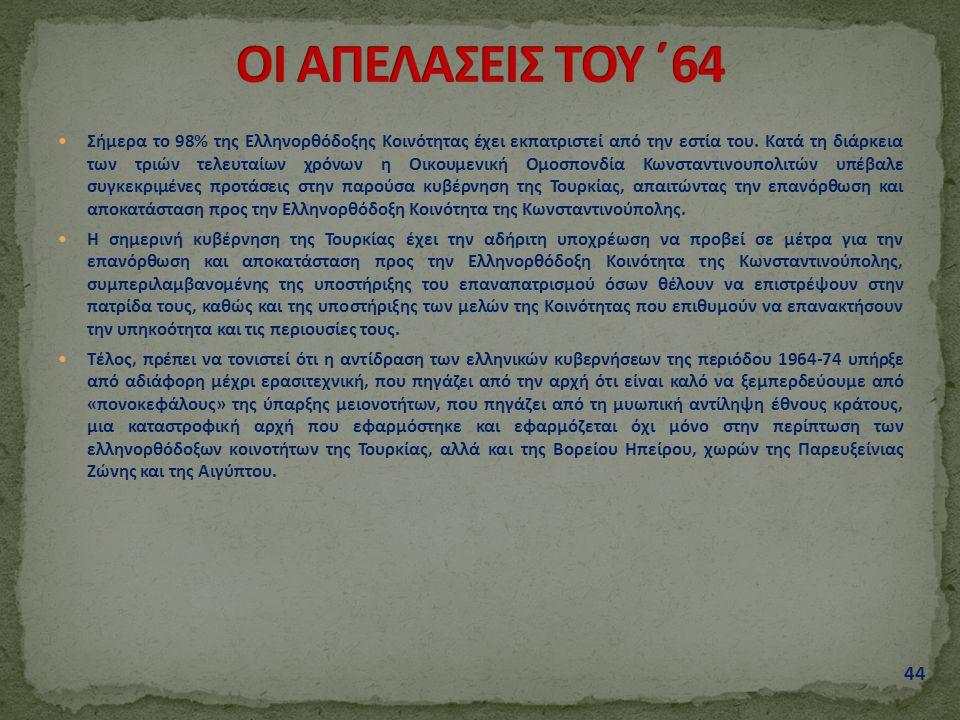 Σήμερα το 98% της Ελληνορθόδοξης Κοινότητας έχει εκπατριστεί από την εστία του. Κατά τη διάρκεια των τριών τελευταίων χρόνων η Οικουμενική Ομοσπονδία
