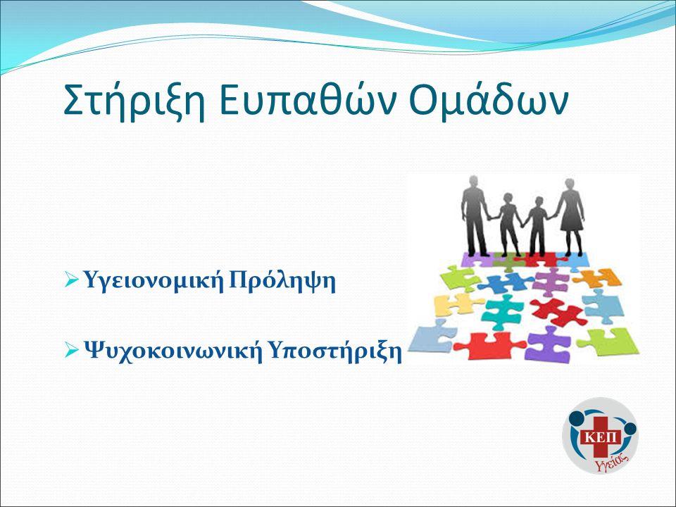 Στήριξη Ευπαθών Ομάδων  Υγειονομική Πρόληψη  Ψυχοκοινωνική Υποστήριξη