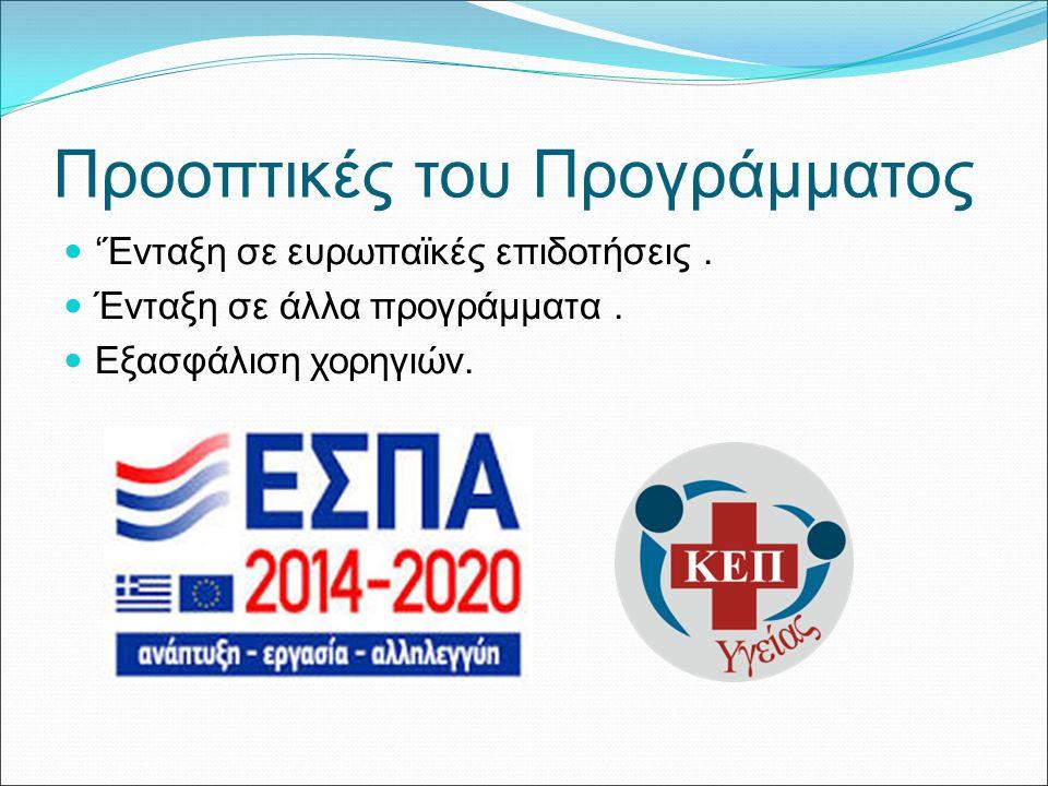 Προοπτικές του Προγράμματος 'Ένταξη σε ευρωπαϊκές επιδοτήσεις.