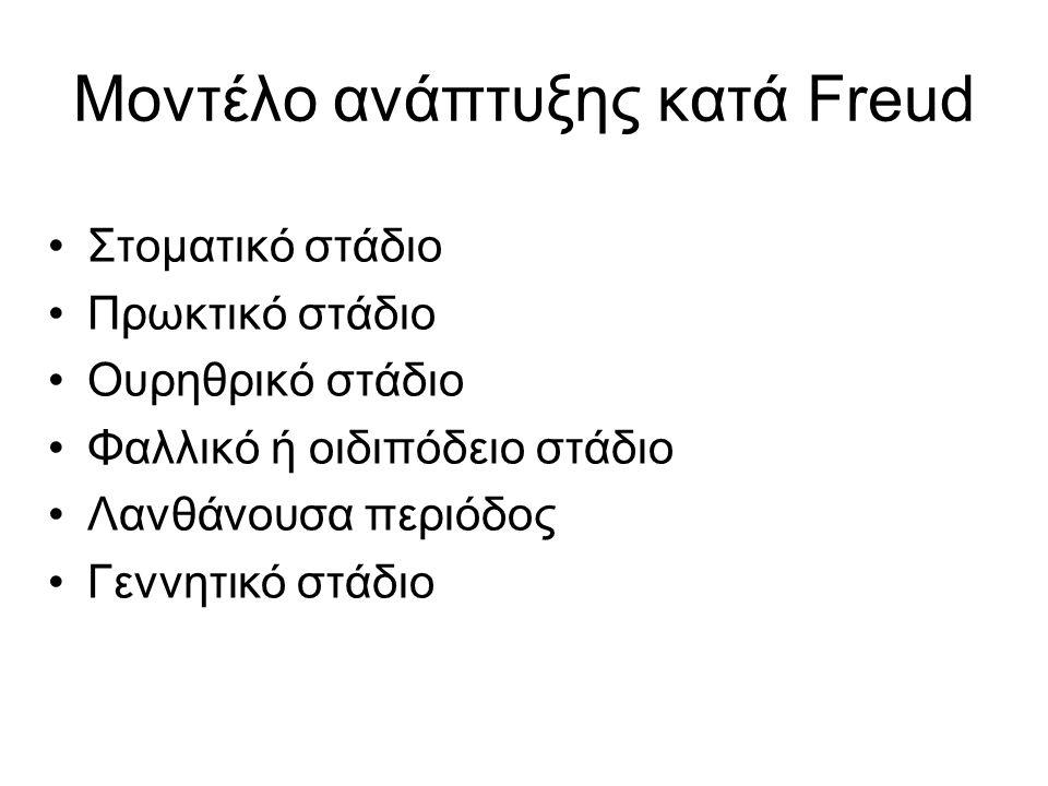 Μοντέλο ανάπτυξης κατά Freud Στοματικό στάδιο Πρωκτικό στάδιο Ουρηθρικό στάδιο Φαλλικό ή οιδιπόδειο στάδιο Λανθάνουσα περιόδος Γεννητικό στάδιο
