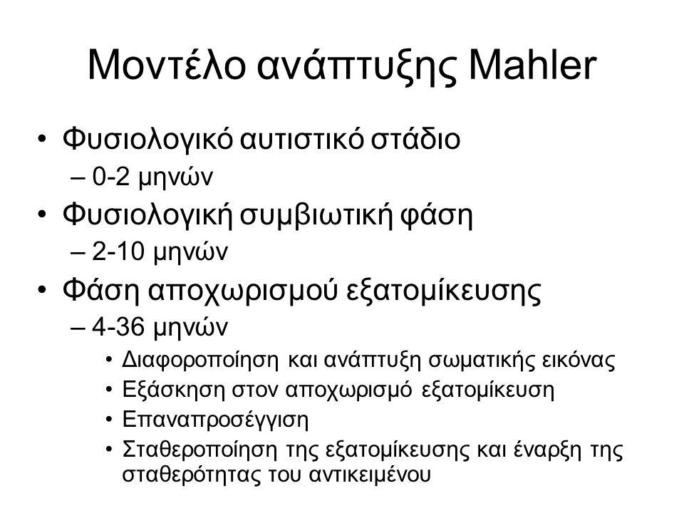 Μοντέλο ανάπτυξης Mahler Φυσιολογικό αυτιστικό στάδιο –0-2 μηνών Φυσιολογική συμβιωτική φάση –2-10 μηνών Φάση αποχωρισμού εξατομίκευσης –4-36 μηνών Διαφοροποίηση και ανάπτυξη σωματικής εικόνας Εξάσκηση στον αποχωρισμό εξατομίκευση Επαναπροσέγγιση Σταθεροποίηση της εξατομίκευσης και έναρξη της σταθερότητας του αντικειμένου