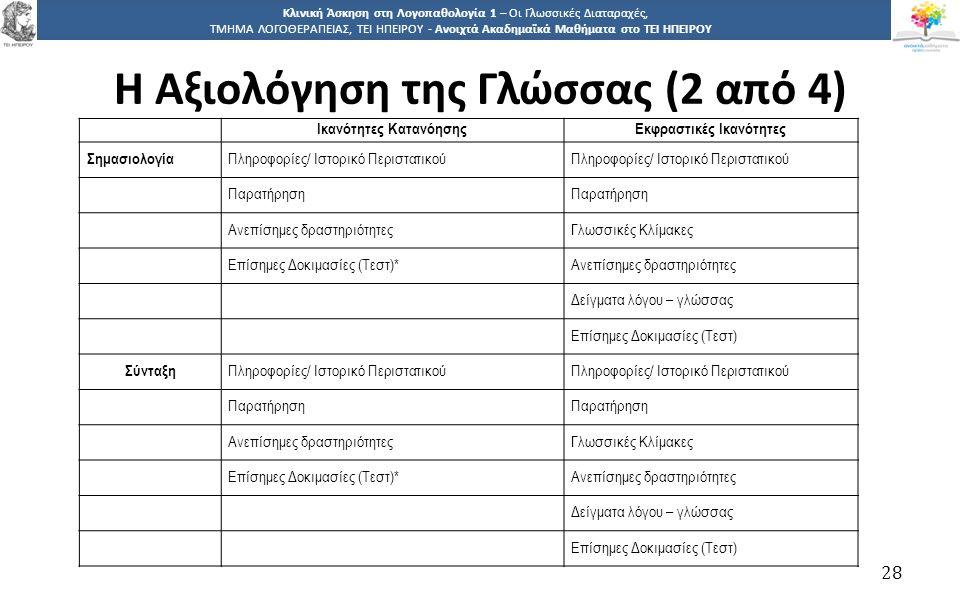 2828 Κλινική Άσκηση στη Λογοπαθολογία 1 – Οι Γλωσσικές Διαταραχές, ΤΜΗΜΑ ΛΟΓΟΘΕΡΑΠΕΙΑΣ, ΤΕΙ ΗΠΕΙΡΟΥ - Ανοιχτά Ακαδημαϊκά Μαθήματα στο ΤΕΙ ΗΠΕΙΡΟΥ Η Αξ