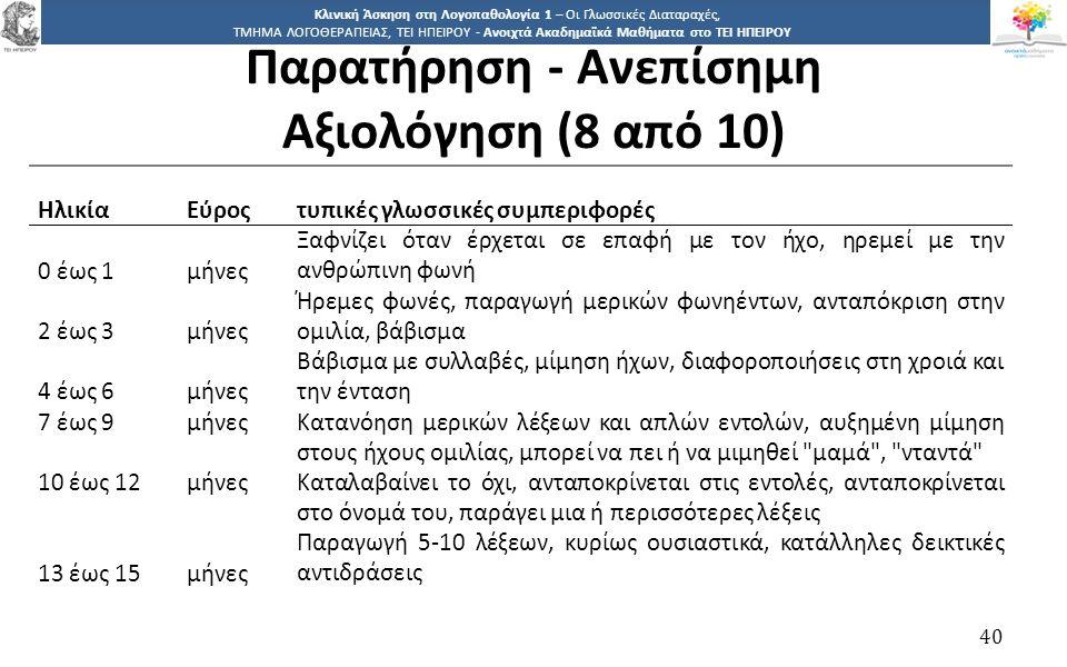 4040 Κλινική Άσκηση στη Λογοπαθολογία 1 – Οι Γλωσσικές Διαταραχές, ΤΜΗΜΑ ΛΟΓΟΘΕΡΑΠΕΙΑΣ, ΤΕΙ ΗΠΕΙΡΟΥ - Ανοιχτά Ακαδημαϊκά Μαθήματα στο ΤΕΙ ΗΠΕΙΡΟΥ 40 Η
