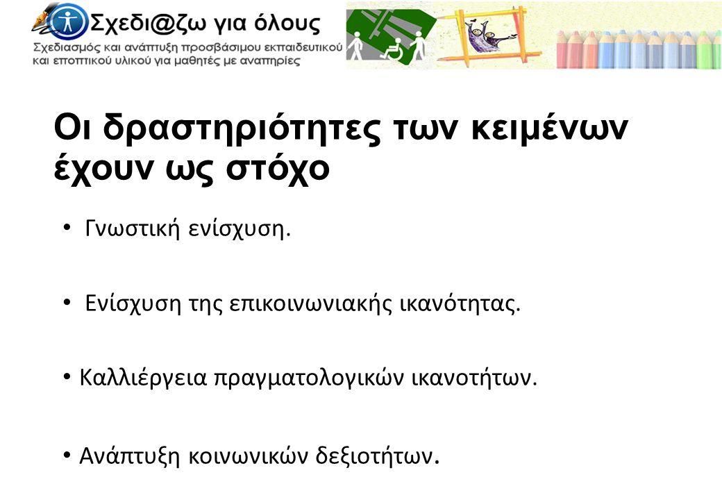 Κατηγορίες λέξεων Ουσιαστικά Αλφάβητο-αριθμοί Γραφική ύλη Δραστηριότητες Επαγγέλματα Έπιπλα Είδη σπιτιού Είδη σχολείου Ζώα Φυτά Καιρός-καιρικά φαινόμενα Οχήματα Παιχνίδια Μουσικά όργανα Πρόσωπα Ηλεκτρικές Συσκευές Σώμα Ρούχα Τρόφιμα-φαγητά-ποτά Χρόνος Χώροι-μέρη-τόποι Επίθετα Αριθμητικά Κατάσταση Συναισθήματα Χαρακτηρισμοί Χρώματα Ρήματα Επιρρήματα (τοπικά) Επιφωνήσεις Εργαλεία Σχήματα