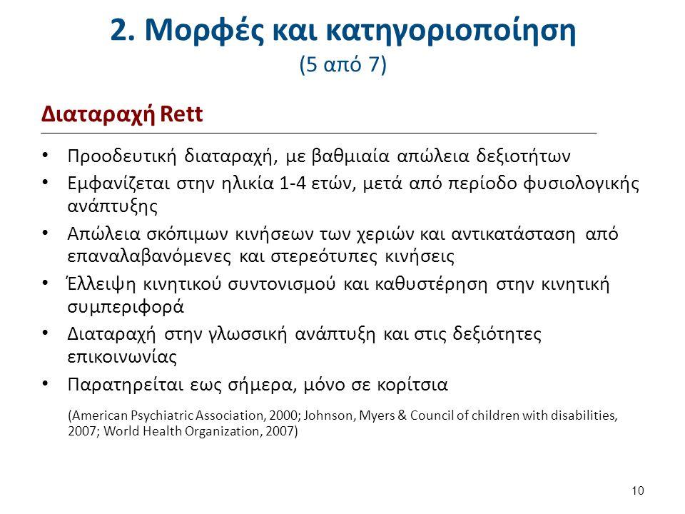 2. Μορφές και κατηγοριοποίηση (5 από 7) Διαταραχή Rett Προοδευτική διαταραχή, με βαθμιαία απώλεια δεξιοτήτων Εμφανίζεται στην ηλικία 1-4 ετών, μετά απ