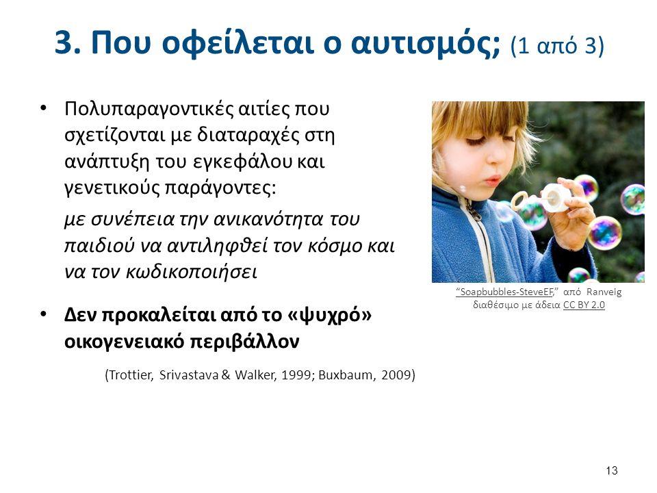 3. Που οφείλεται ο αυτισμός; (1 από 3) Πολυπαραγοντικές αιτίες που σχετίζονται με διαταραχές στη ανάπτυξη του εγκεφάλου και γενετικούς παράγοντες: με