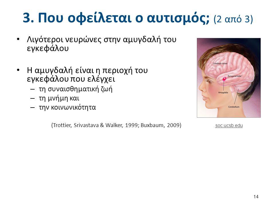 3. Που οφείλεται ο αυτισμός; (2 από 3) Λιγότεροι νευρώνες στην αμυγδαλή του εγκεφάλου Η αμυγδαλή είναι η περιοχή του εγκεφάλου που ελέγχει – τη συναισ