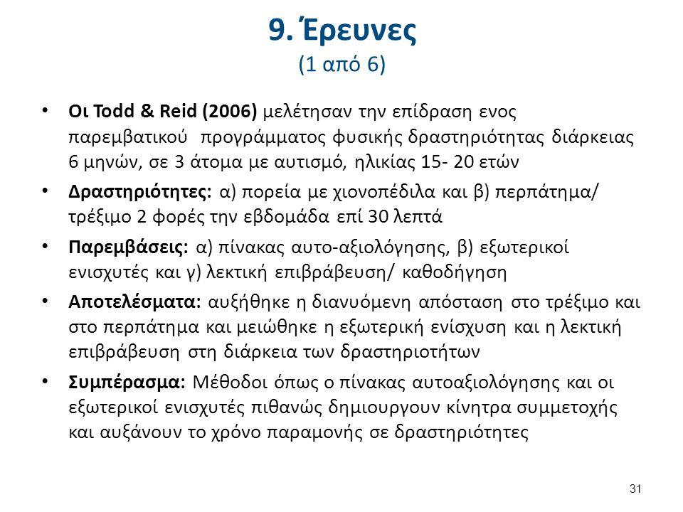 9. Έρευνες (1 από 6) Οι Todd & Reid (2006) μελέτησαν την επίδραση ενος παρεμβατικού προγράμματος φυσικής δραστηριότητας διάρκειας 6 μηνών, σε 3 άτομα