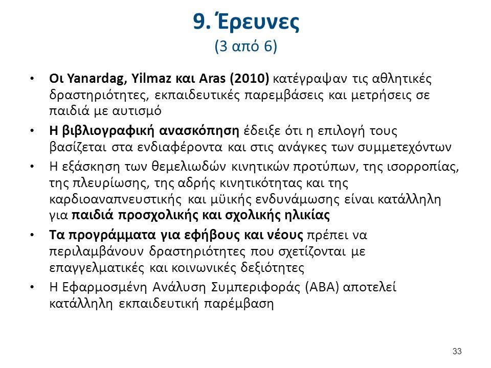 9. Έρευνες (3 από 6) Οι Yanardag, Yilmaz και Aras (2010) κατέγραψαν τις αθλητικές δραστηριότητες, εκπαιδευτικές παρεμβάσεις και μετρήσεις σε παιδιά με