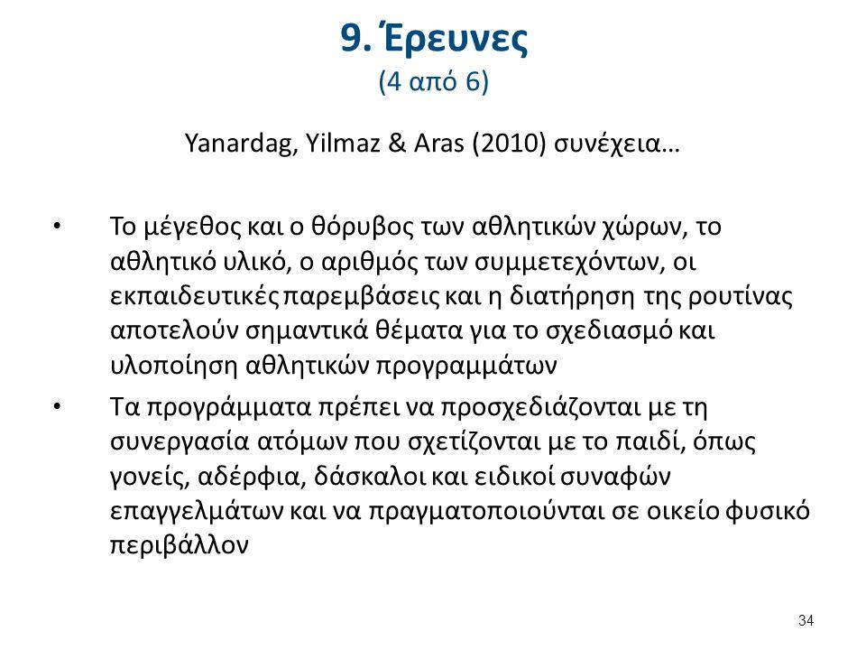 9. Έρευνες (4 από 6) Yanardag, Yilmaz & Aras (2010) συνέχεια… Το μέγεθος και ο θόρυβος των αθλητικών χώρων, το αθλητικό υλικό, ο αριθμός των συμμετεχό