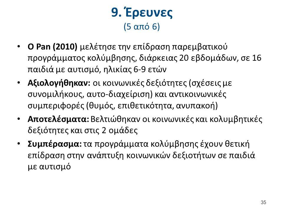 9. Έρευνες (5 από 6) Ο Pan (2010) μελέτησε την επίδραση παρεμβατικού προγράμματος κολύμβησης, διάρκειας 20 εβδομάδων, σε 16 παιδιά με αυτισμό, ηλικίας