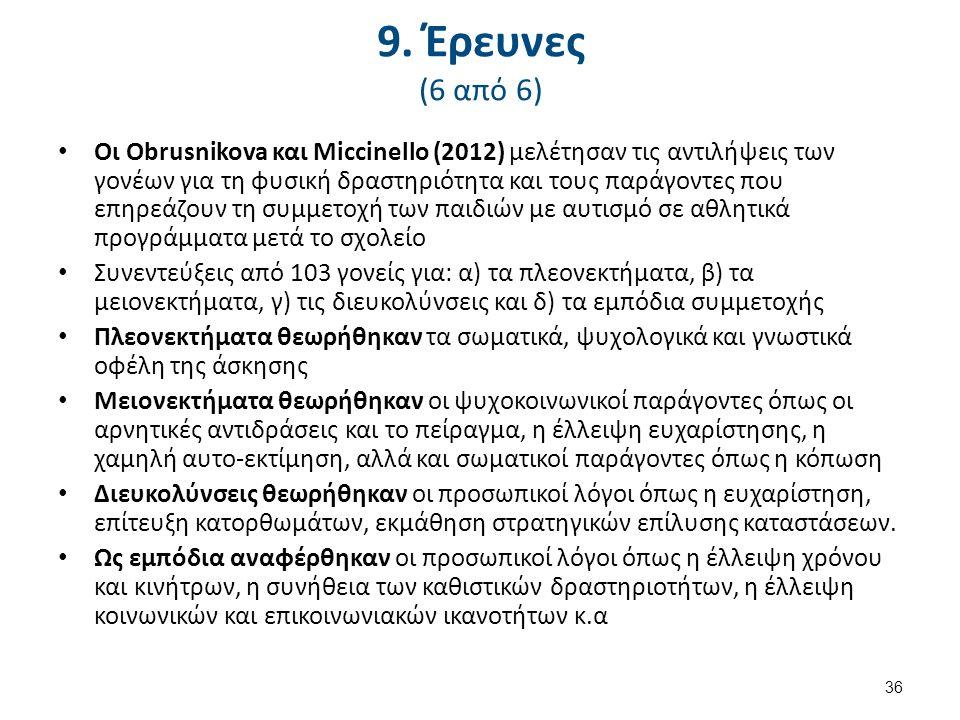 9. Έρευνες (6 από 6) Οι Obrusnikova και Miccinello (2012) μελέτησαν τις αντιλήψεις των γονέων για τη φυσική δραστηριότητα και τους παράγοντες που επηρ