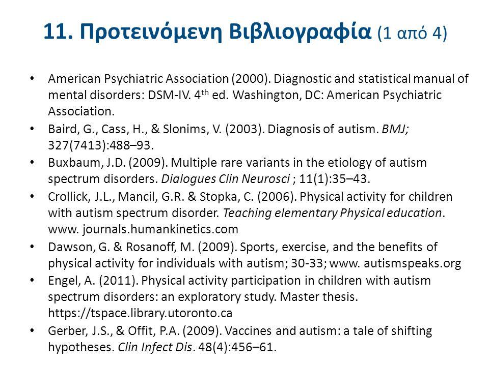 11. Προτεινόμενη Βιβλιογραφία (1 από 4) American Psychiatric Association (2000). Diagnostic and statistical manual of mental disorders: DSM-IV. 4 th e