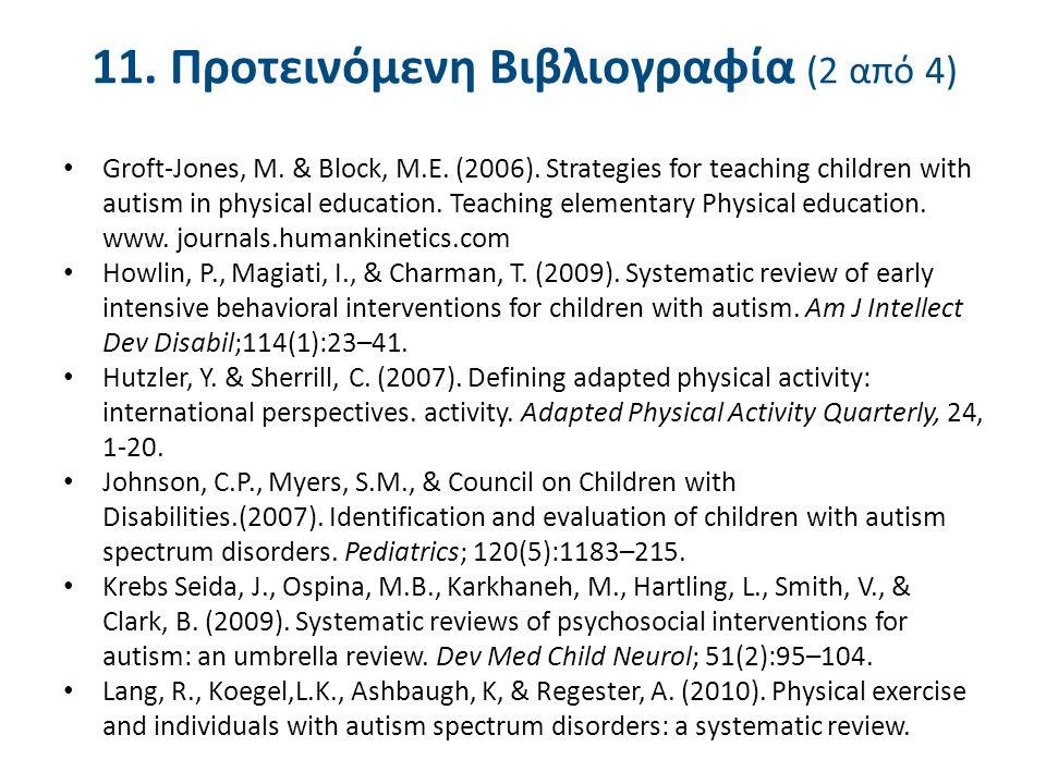 11. Προτεινόμενη Βιβλιογραφία (2 από 4) Groft-Jones, M. & Block, M.E. (2006). Strategies for teaching children with autism in physical education. Teac