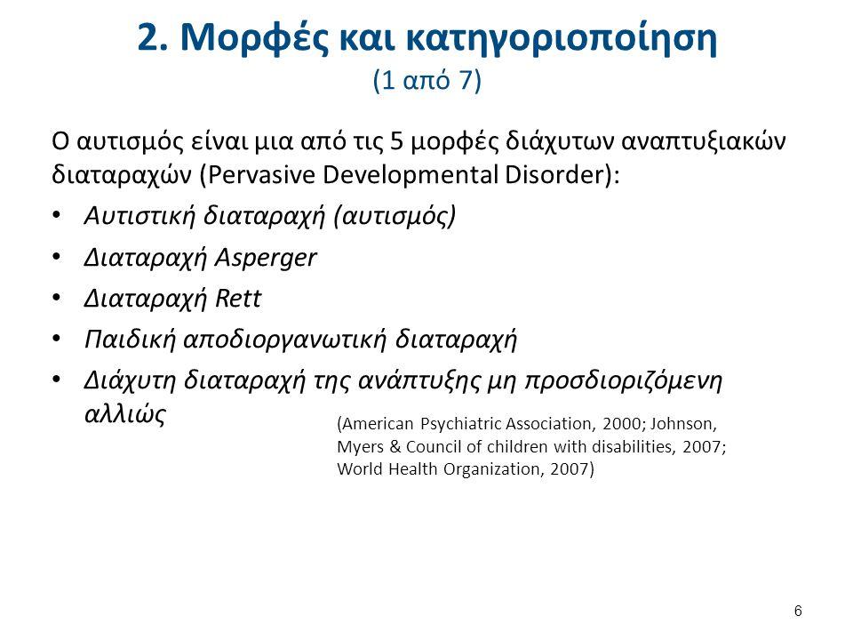 2. Μορφές και κατηγοριοποίηση (1 από 7) Ο αυτισμός είναι μια από τις 5 μορφές διάχυτων αναπτυξιακών διαταραχών (Pervasive Developmental Disorder): Αυτ