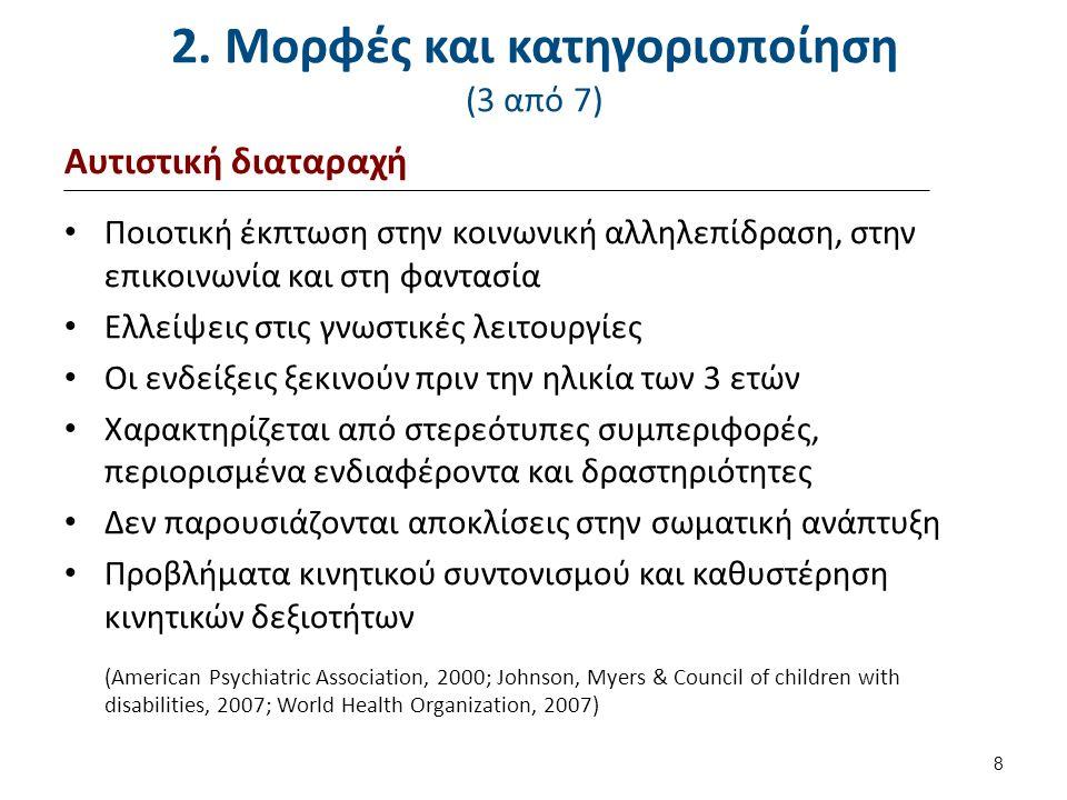 2. Μορφές και κατηγοριοποίηση (3 από 7) Αυτιστική διαταραχή Ποιοτική έκπτωση στην κοινωνική αλληλεπίδραση, στην επικοινωνία και στη φαντασία Ελλείψεις