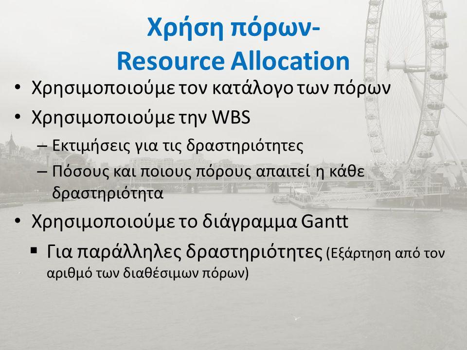 Χρήση πόρων- Resource Allocation Χρησιμοποιούμε τον κατάλογο των πόρων Χρησιμοποιούμε την WBS – Εκτιμήσεις για τις δραστηριότητες – Πόσους και ποιους πόρους απαιτεί η κάθε δραστηριότητα Χρησιμοποιούμε το διάγραμμα Gantt  Για παράλληλες δραστηριότητες (Εξάρτηση από τον αριθμό των διαθέσιμων πόρων)