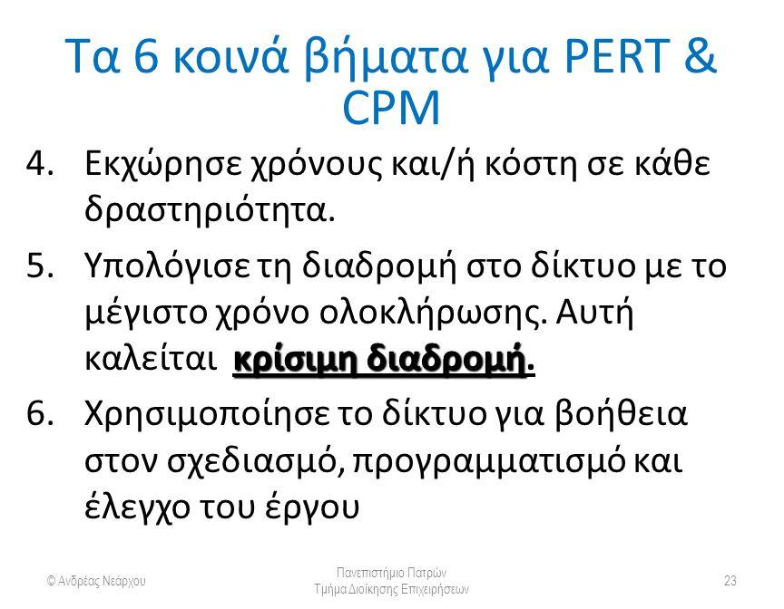 Τα 6 κοινά βήματα για PERT & CPM 4.Εκχώρησε χρόνους και/ή κόστη σε κάθε δραστηριότητα.