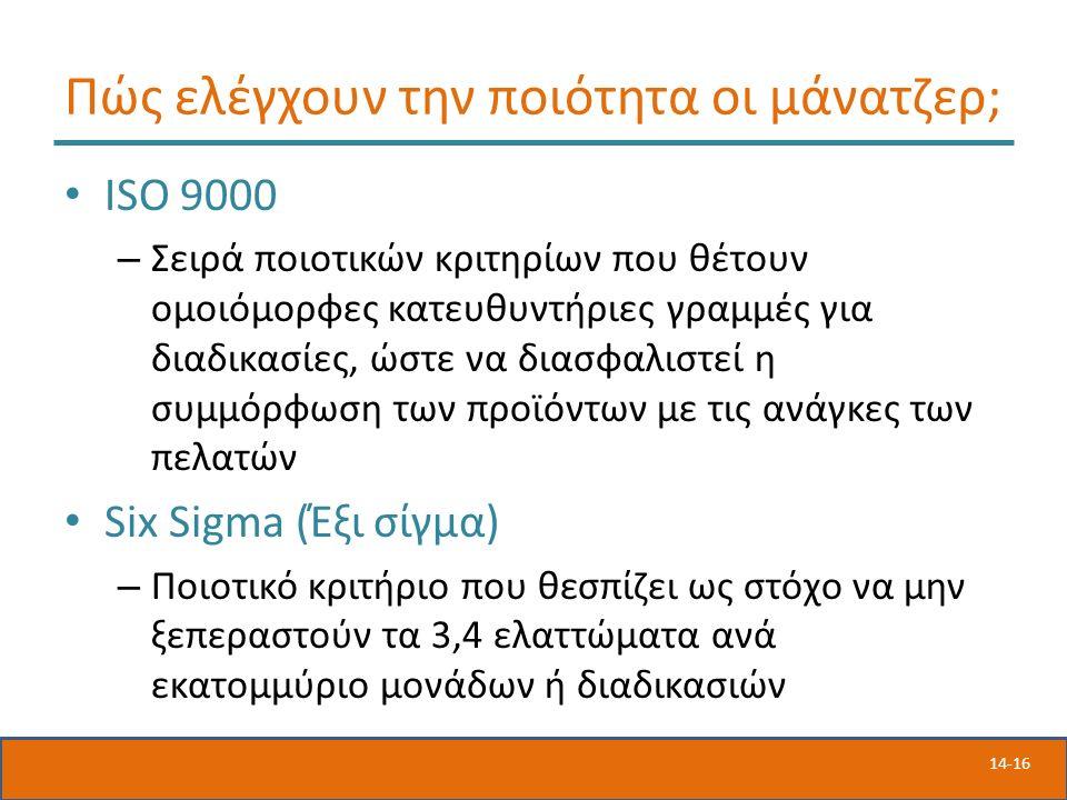 14-16 Πώς ελέγχουν την ποιότητα οι μάνατζερ; ISO 9000 – Σειρά ποιοτικών κριτηρίων που θέτουν ομοιόμορφες κατευθυντήριες γραμμές για διαδικασίες, ώστε να διασφαλιστεί η συμμόρφωση των προϊόντων με τις ανάγκες των πελατών Six Sigma (Έξι σίγμα) – Ποιοτικό κριτήριο που θεσπίζει ως στόχο να μην ξεπεραστούν τα 3,4 ελαττώματα ανά εκατομμύριο μονάδων ή διαδικασιών