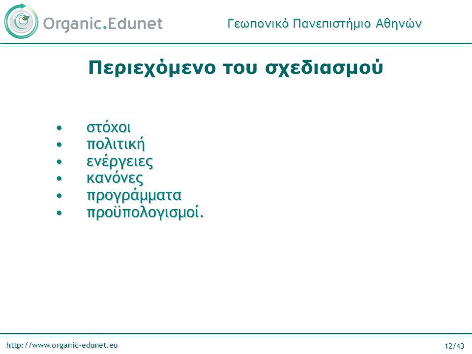 http://www.organic-edunet.eu 12/43 Περιεχόμενο του σχεδιασμού στόχοιστόχοι πολιτικήπολιτική ενέργειεςενέργειες κανόνεςκανόνες προγράμματαπρογράμματα π
