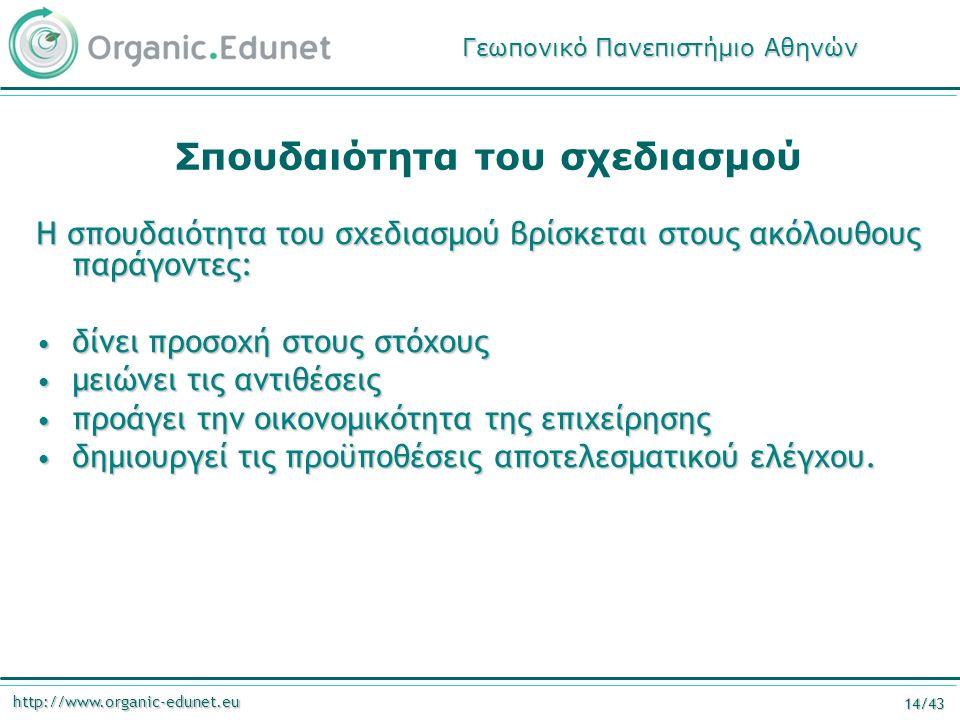 http://www.organic-edunet.eu 14/43 Σπουδαιότητα του σχεδιασμού Η σπουδαιότητα του σχεδιασμού βρίσκεται στους ακόλουθους παράγοντες: δίνει προσοχή στου