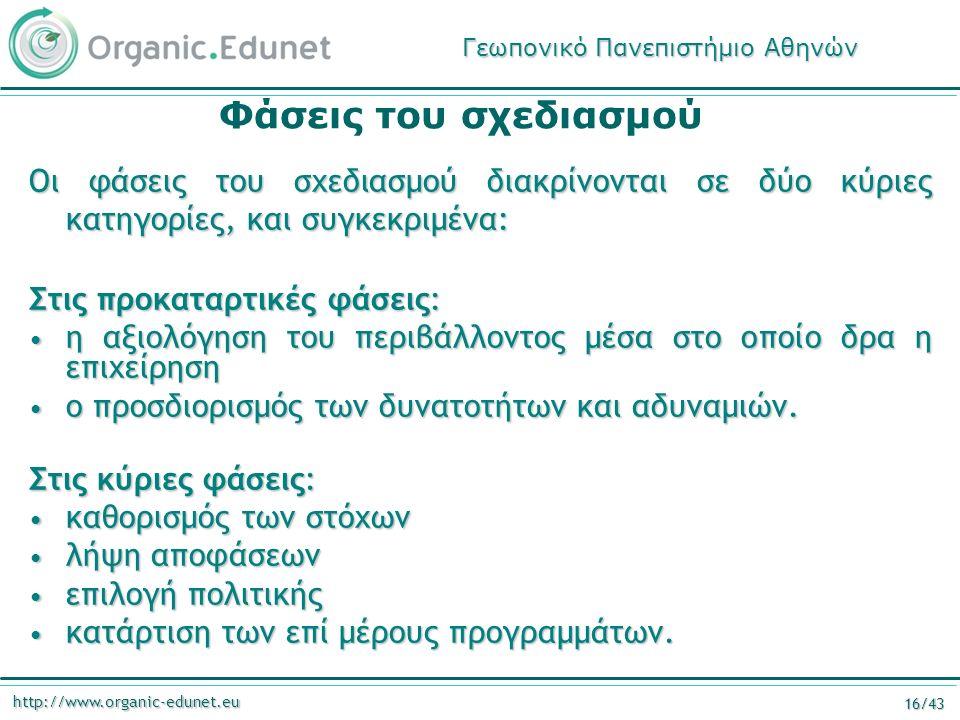 http://www.organic-edunet.eu 16/43 Φάσεις του σχεδιασμού Οι φάσεις του σχεδιασμού διακρίνονται σε δύο κύριες κατηγορίες, και συγκεκριμένα: Στις προκαταρτικές φάσεις: η αξιολόγηση του περιβάλλοντος μέσα στο οποίο δρα η επιχείρηση η αξιολόγηση του περιβάλλοντος μέσα στο οποίο δρα η επιχείρηση ο προσδιορισμός των δυνατοτήτων και αδυναμιών.