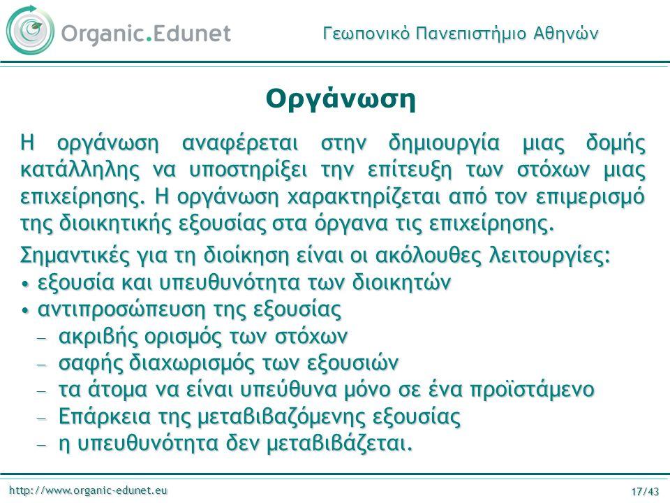 http://www.organic-edunet.eu 17/43 Οργάνωση Η οργάνωση αναφέρεται στην δημιουργία μιας δομής κατάλληλης να υποστηρίξει την επίτευξη των στόχων μιας επιχείρησης.