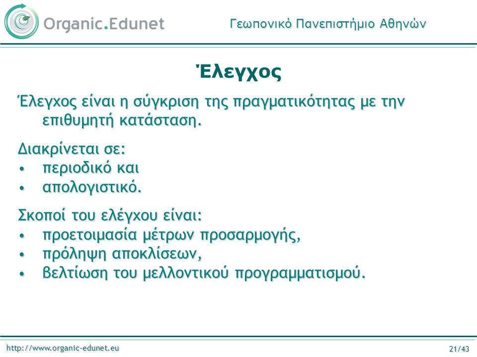 http://www.organic-edunet.eu 21/43 Έλεγχος Έλεγχος είναι η σύγκριση της πραγματικότητας με την επιθυμητή κατάσταση. Διακρίνεται σε: περιοδικό και περι