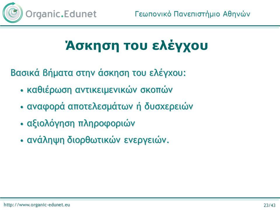http://www.organic-edunet.eu 23/43 Άσκηση του ελέγχου Βασικά βήματα στην άσκηση του ελέγχου: καθιέρωση αντικειμενικών σκοπών καθιέρωση αντικειμενικών σκοπών αναφορά αποτελεσμάτων ή δυσχερειών αναφορά αποτελεσμάτων ή δυσχερειών αξιολόγηση πληροφοριών αξιολόγηση πληροφοριών ανάληψη διορθωτικών ενεργειών.